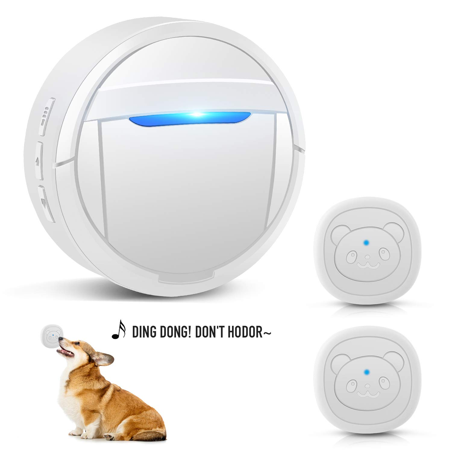 BOODIDI Dog Doorbell, White Wireless Communication Doorbell for Dogs, Waterproof Smart Bell for Puppies with Super-Light Press Button, Doggy Door Bell Including One Receiver and Two Buttons by BOODIDI