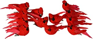 TenWaterloo Mini Cardinal Set of 12 Mini Red Cardinal Birds with Clips - Red Cardinal Bird Christmas Ornaments 2.25 Inches x 1.25 inches