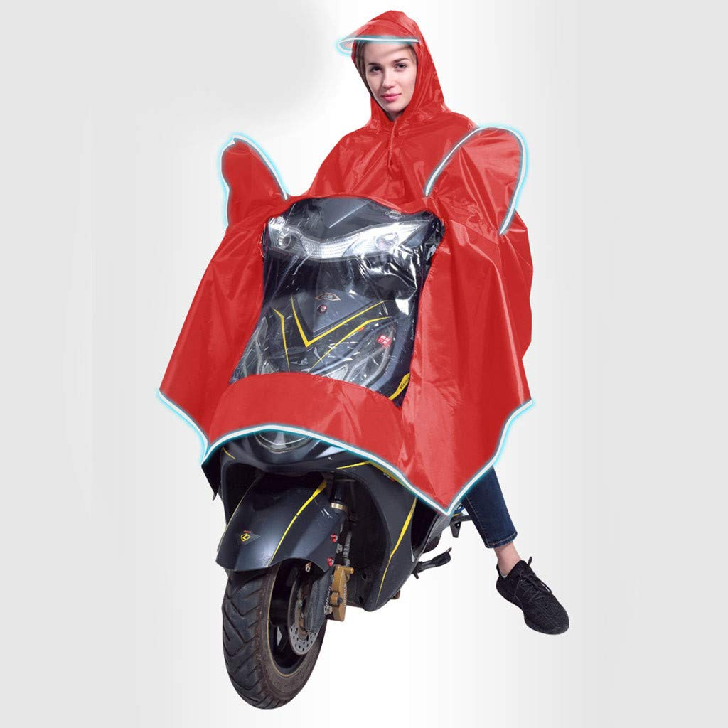 FakeFace High Quality Extra Large Lengthen Windproof Waterproof Motorcycle Scooter Rain Hoodie Coat Women Men Big Raincoat Cover Cape Poncho Rainwear Full Protection with Visor and Storage Bag