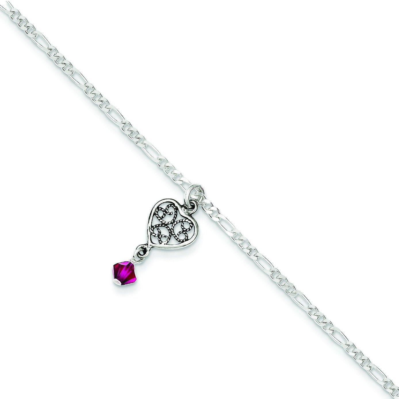 Sterling Silver Antiqued Dark Pink Crystals Dangling Hearts Anklet