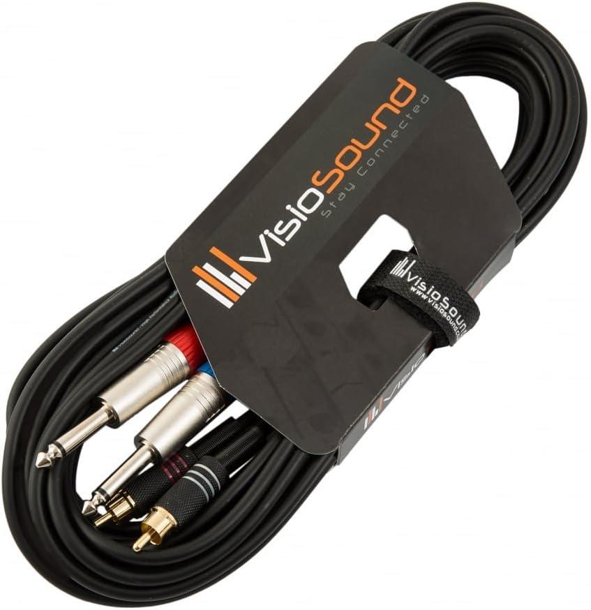 C/âble double 2 x jack mono 6,35mm 1//4 /à 2 x RCA phono//C/âble signal audio 1.5m