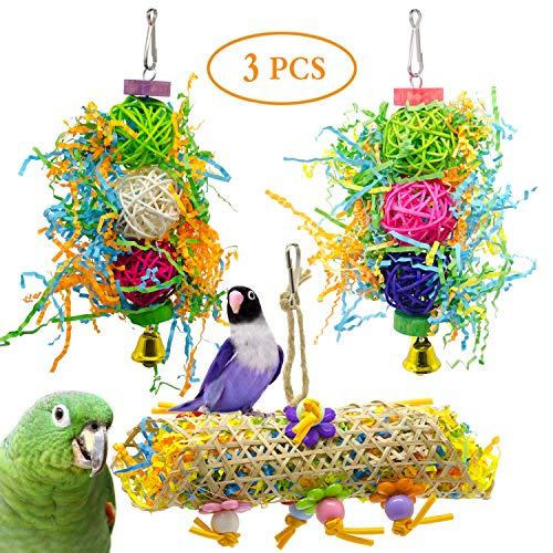 SHANTU 3Pack Bird Chewing Toys Foraging Shredder Toy Parrot Cage Shredder Toy Foraging Hanging Toy for Cockatiel Conure African Grey Amazon