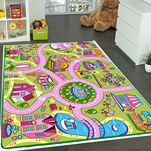 Kids Rug Fun Land Play Rug 3' X 5' Children Area Rug - Non Skid Gel Backing - Kids Play 5 Note