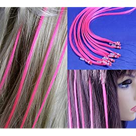 18 inch Micro Rings Loop Human Hair Extensions /10 Strands/Pink