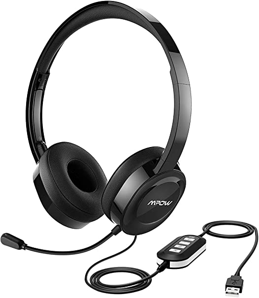 in-line Control Foldable 3.5mm//USB Headphones with Retractable Noise Cancelling Mic PC Phone Comfort-Fits Memory Earcups Headsets for Laptop Mute Function Mpow Computer Headset with Microphone