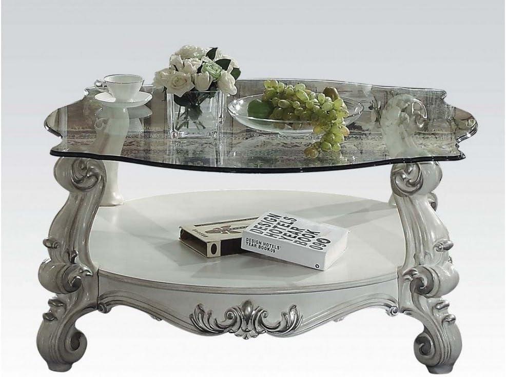 ACME Versailles Coffee Table - 82085 - Bone White & Clear Glass