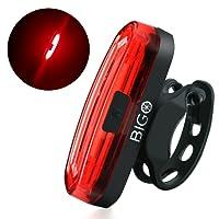 Eclairage Arrière Vélo, BIGO Feu Arrière Vélo USB Rechargeable COB LED Lampe de vélo Arrière, 4 Modes d'éclairage, 50m Distance Irradiation, Antichoc Impermeable