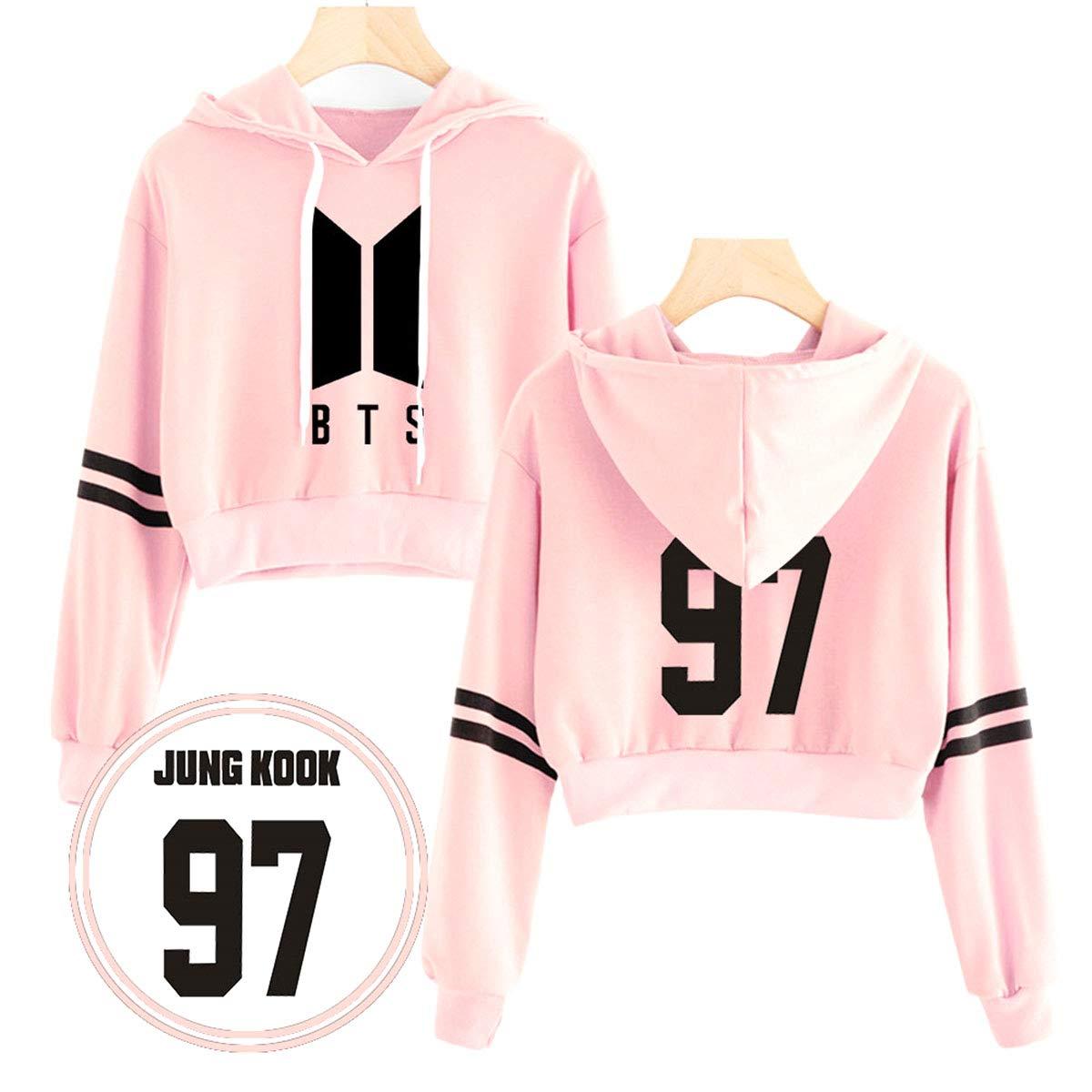 SIMYJOY Kpop Group BTS Sweater Letters Printed Hoodies Crop Top Suga V RM Jimin Jin Jhope Jungkook Sweatshirt Pullover Nice Gifts for Army Girls Women