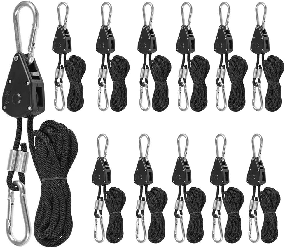 150 LB Capacity per Pair 6 Pairs 1//8 Heavy Duty Ratchet Ropes Adjustable Rope Ratchet Hanger Grow Light Rope Hangers for Grow Plant Fan Filter Light Room Equipment