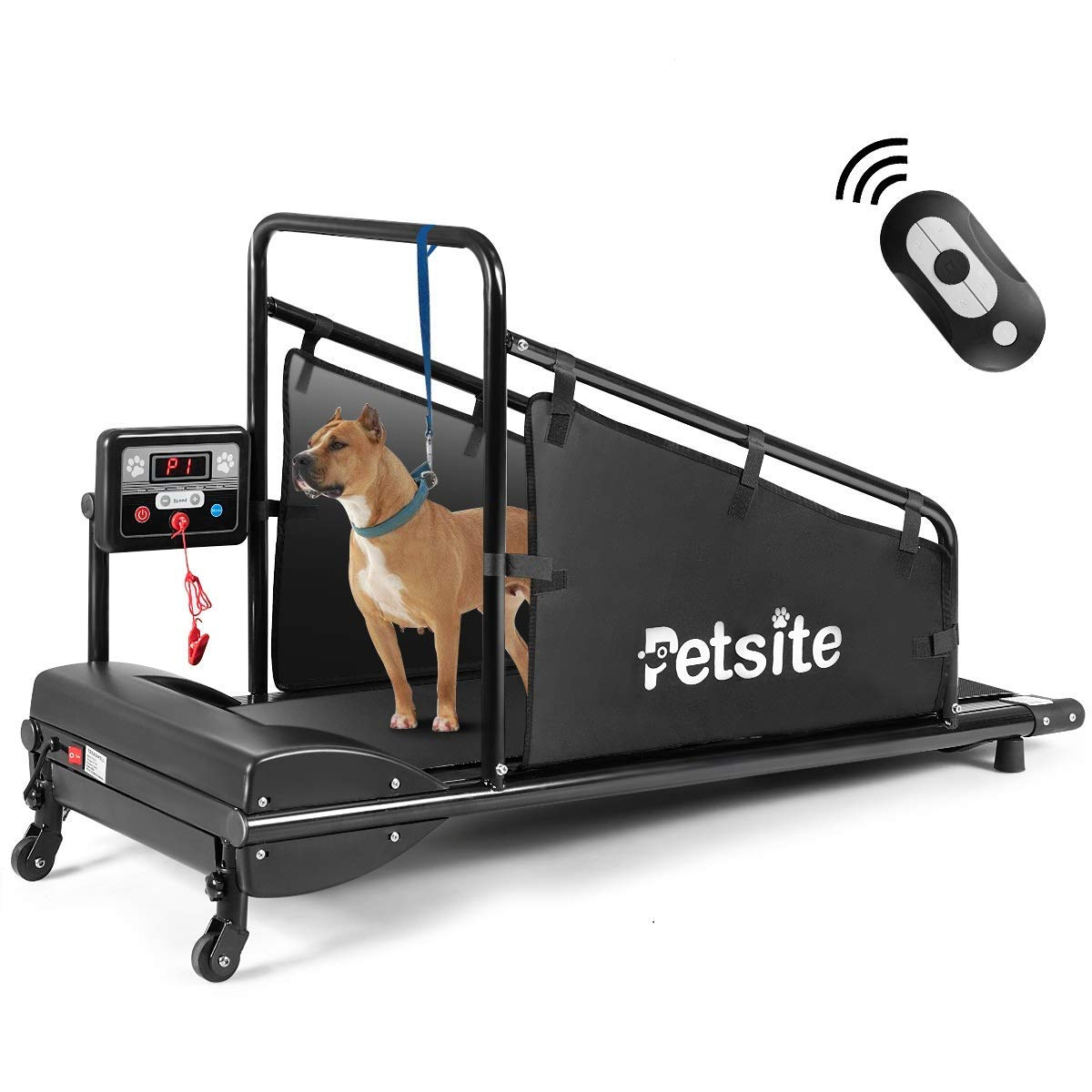 Goplus Dog Treadmill, Fitness Pet Treadmill Indoor Exercise for Dogs Up to 200 lbs, Pet Exercise Equipment with Remote Control, 1.4'' Display Screen, Suitable for Small/Medium-Sized Dogs (Black) by Goplus
