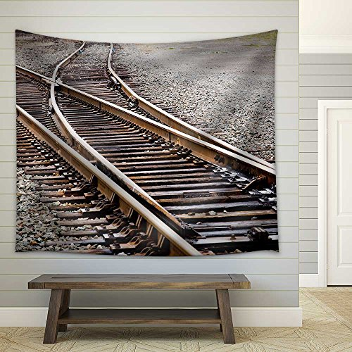 (wall26 - Mainline Railroad Track Switch - Fabric Wall Tapestry Home Decor - 68x80 inches)
