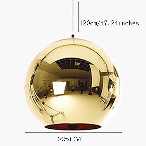 SAINT LROA Color Glass Globe Mirror Glass Ball Pendant Lamp Ceiling Light Fixture Fit to E26 E27 Gold,25cm
