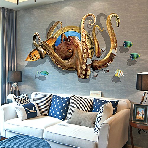 Cheap  Funif 3D Animal Octopus Wall Sticker DIY Removable Wall Decals Wallpaper Decorative..