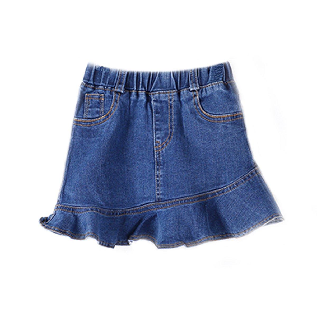 NABER Kids Girls' Fashion Elastic Waist Pleated Tutu Denim Skirt Age 3-10 Years (5-6 Years)