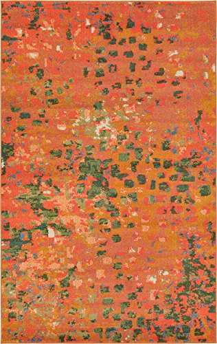 Unique Loom Jardin Collection Vibrant Abstract Orange Area Rug (5' 0 x 8' 0)