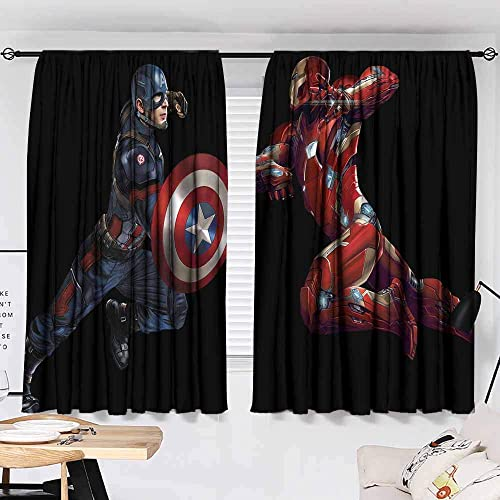Cowspring Iron Man Captain America Living Room Bedroom Window Drapes 2 Panel Set
