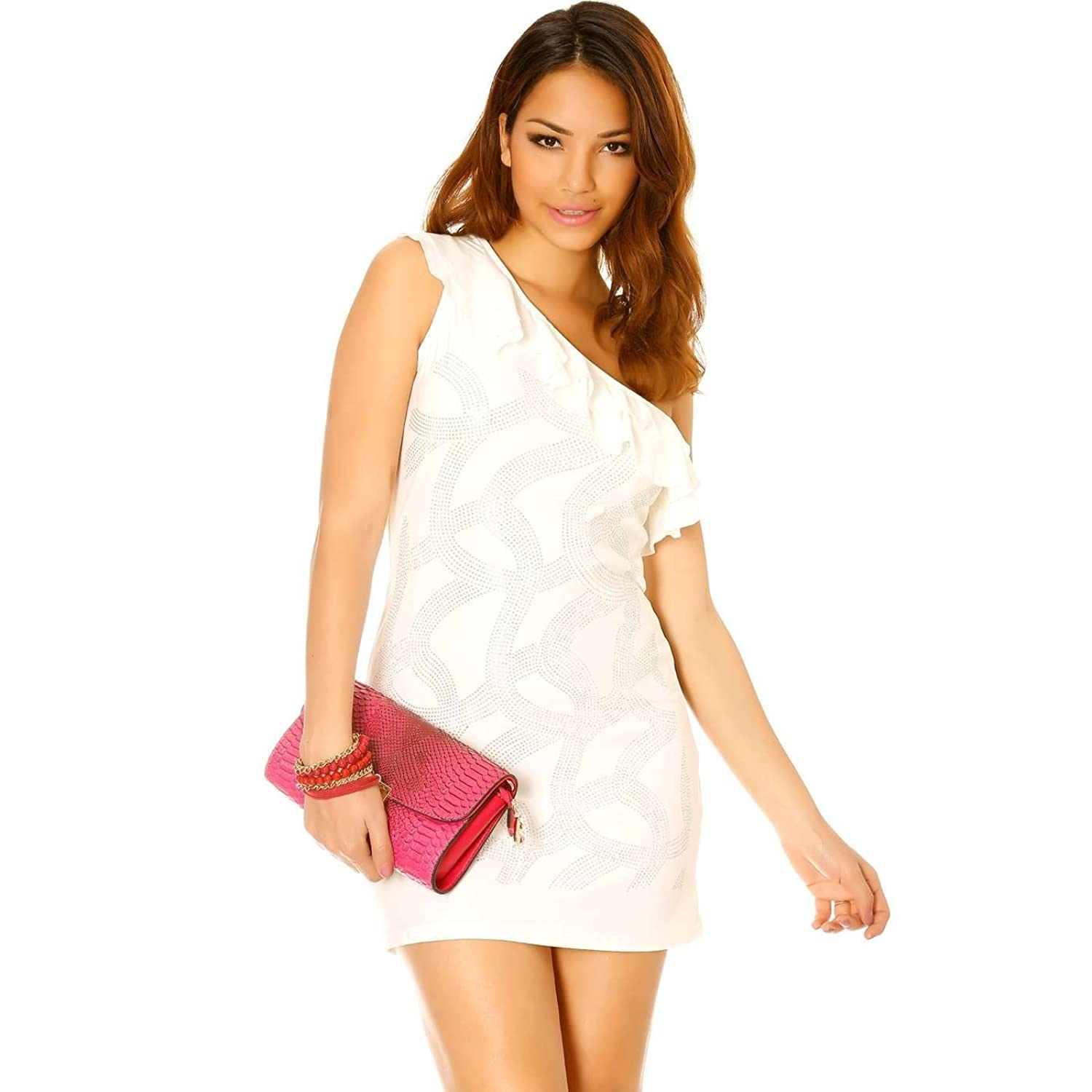 Miss Wear Line?-?White Dress with Off-Shoulder and Rhinestones on the front