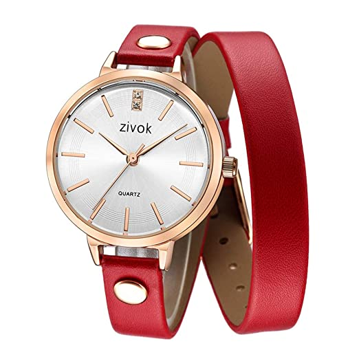 Relojes Pulsera Fino Larga Doble Círculo Correa de Cuero Rhinestone Cuarzo Brazalete Relojes Mujer Elegante, Rojo: Amazon.es: Relojes