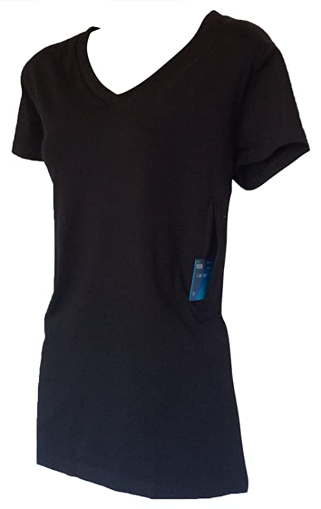 Amazon.com  Clever Travel Companion Women s Fitted V-Neck T-Shirt with 2  Secret Pockets  Sports   Outdoors 796f88bef2