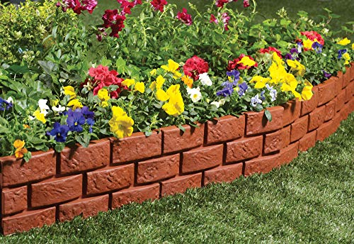 The Paragon Decorative Garden Fence, Faux Brick Landscape Fencing, Ornamental Panel Border Edge Sections, Edging for Patios, Flower Beds, Animal Barriers