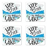 Lunarable Cabin Coaster Set of Four, Life is Better at the Lake Wooden Pier Plants Mountains Sketch Art, Square Hardboard Gloss Coasters for Drinks, Blue Jade Green Charcoal Grey