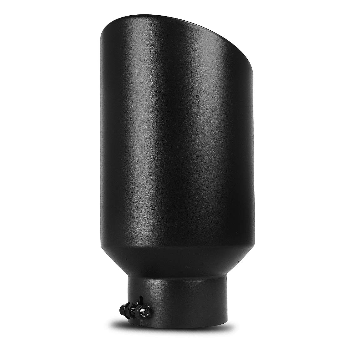 AUTOSAVER88 5x8x15 Black Powder Coated Stainless Steel Exhaust Tip Clamp On Design. 5 Inch Inlet Black Exhaust Tip