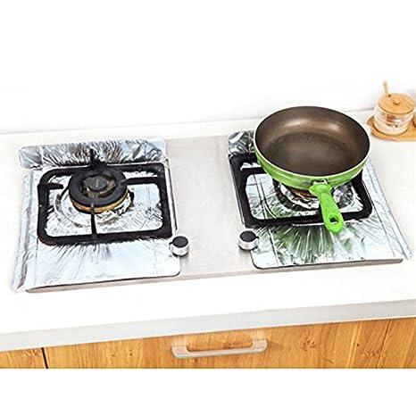 sourban 2pcs lámina de aluminio cocina de gas estufa de pantalla limpia alfombrilla para maletero reutilizables