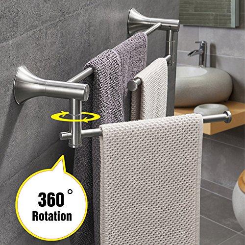 Double Towel Bar Set 2-Tier Swivel Bath Shower Hand Towel Rail Shelf Holder 24 Inch Bathroom Hardware Wall Mount Kitchen Towel Rack Hanger Rustproof Stainless Steel Polished Brushed by KOOLIFT (Bar Double Set Towel)