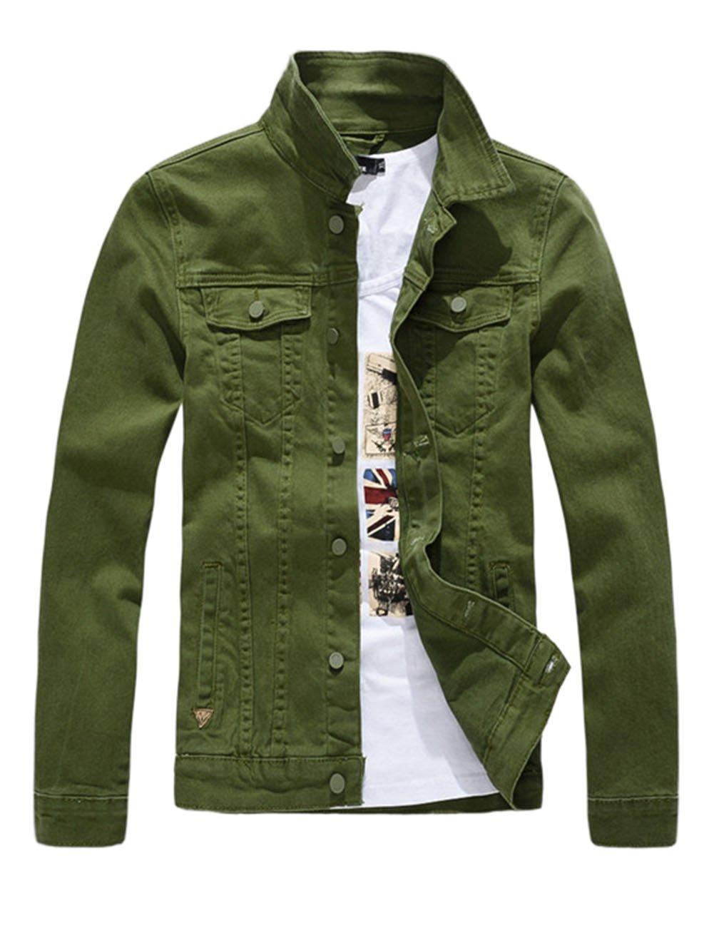 DSDZ Men`s Classic Slim Fit Motorcycle Denim Jacket Coat Green L(Asian 4XL)