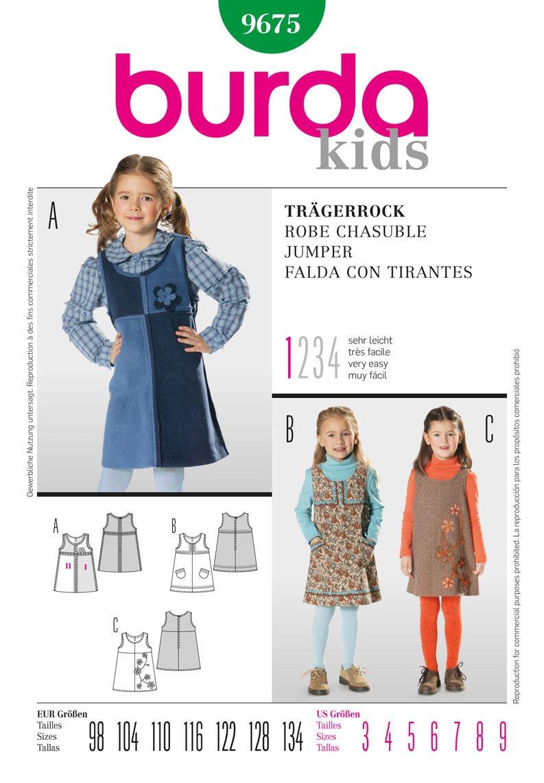 Burda Kinder Schnittmuster 9675 – Ärmellose Kleider Alter: 3–9 ...