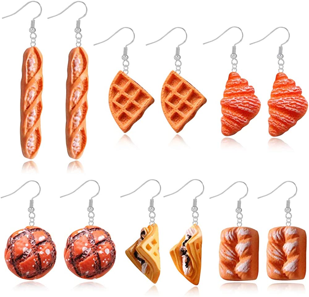 DAMLENG 6 Pairs Handmade Simulation food Croissant French Bread Toast Dangle Drop Earrings Cute Unique Baguette Earrings Set for Women Girls Jewelry