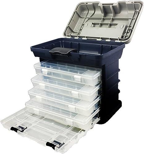 Caja de aparejos de pesca multifunción, almacenamiento de accesorios de pesca, caja de herramientas portátil, kit organizador con 4 cajones y divisores ajustables, de gossipboy: Amazon.es: Deportes y aire libre