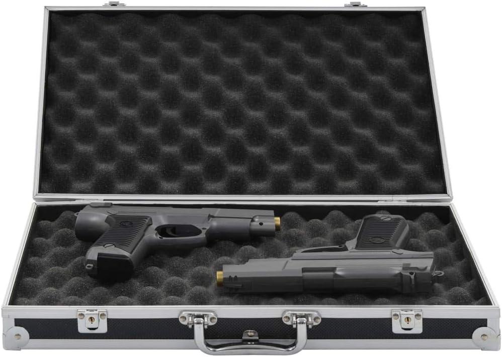 Festnight Maletín de Aluminio Maletín para Armas Negro 47 X 26 X 8,3 Cm de Aluminio y ABS