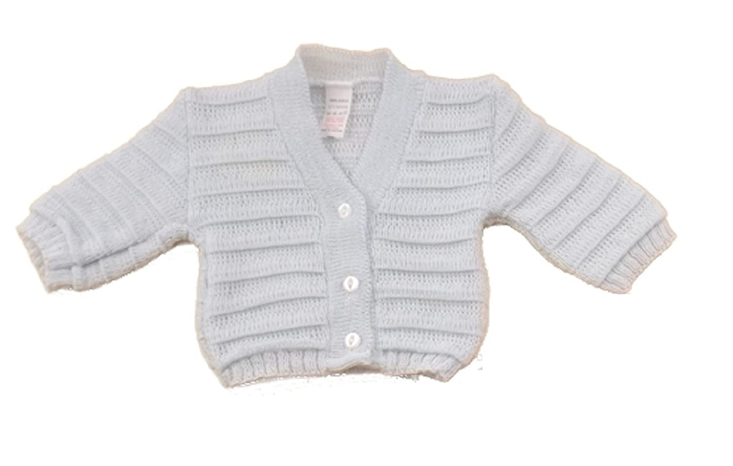 Baby Soft Knitted Cardigan All Seasons B066 White Pink Sky Blue B066w