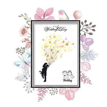 DIY Hochzeit Fingerabdruck Baum Leinwand Unterschrift Gästebuch Mit 6 Farben