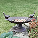 Cast Iron Love Birds Bird Bath - A Unique 6th Wedding Anniversary Gift - H16cm x W18cm