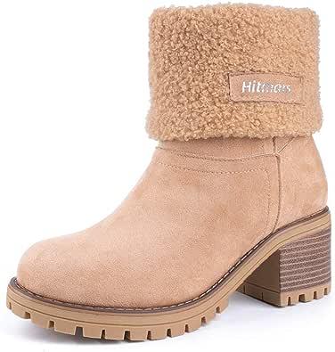 Botas Mujer Invierno Tacon Forrado Calentar Botas Altas Botines Moda Casual Outdoor Zapatos de Nieve Snow Boots 6 cm Negro Marrón Caqui 35-43
