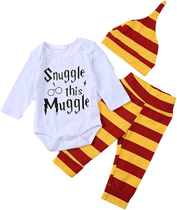 i-Auto Time Snuggle This Muggle Baby Boys Girls Romper Pants Hat Outfit Set Clothes