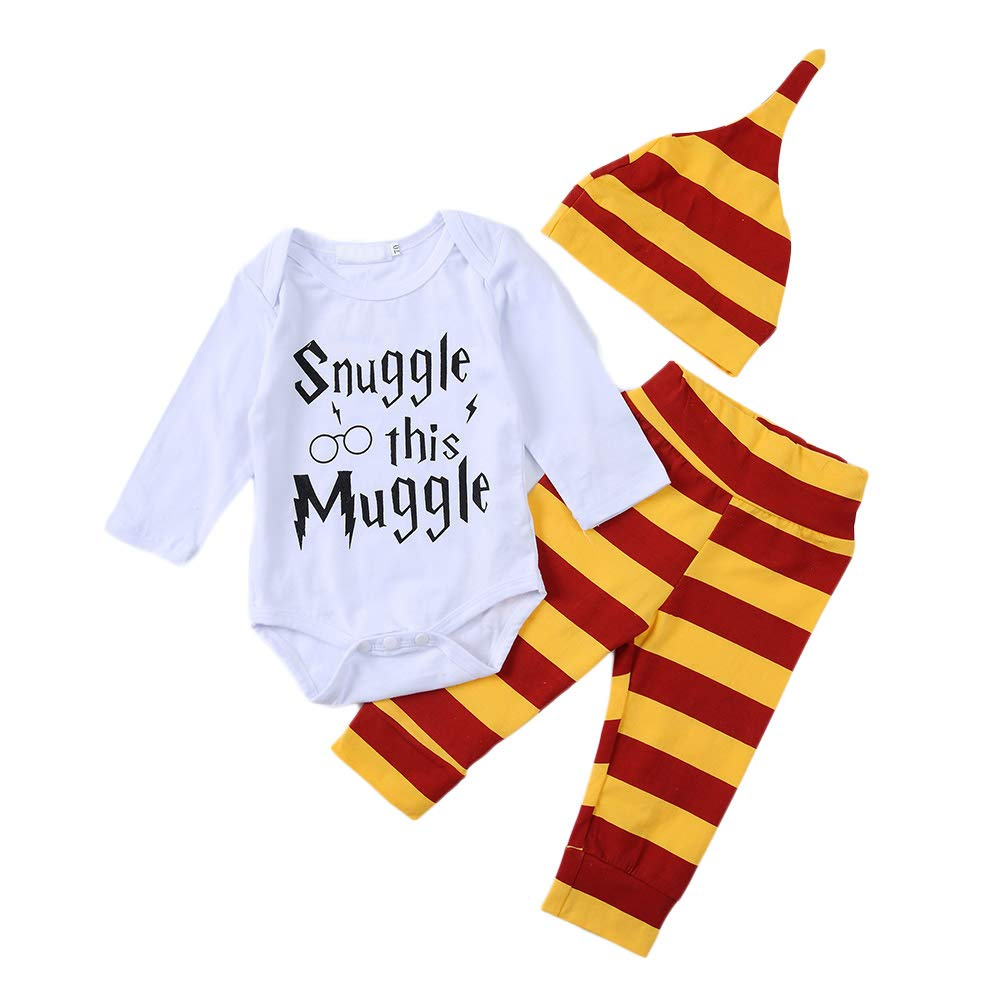 3pcs Infant Letter Printed Onesies Pants Hat Outfits Set Baby Boys Snuggle This Muggle Romper Stripes Pants Clothes Bebogo CA181203936