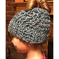 Chunky Crochet Messy Bun Hat