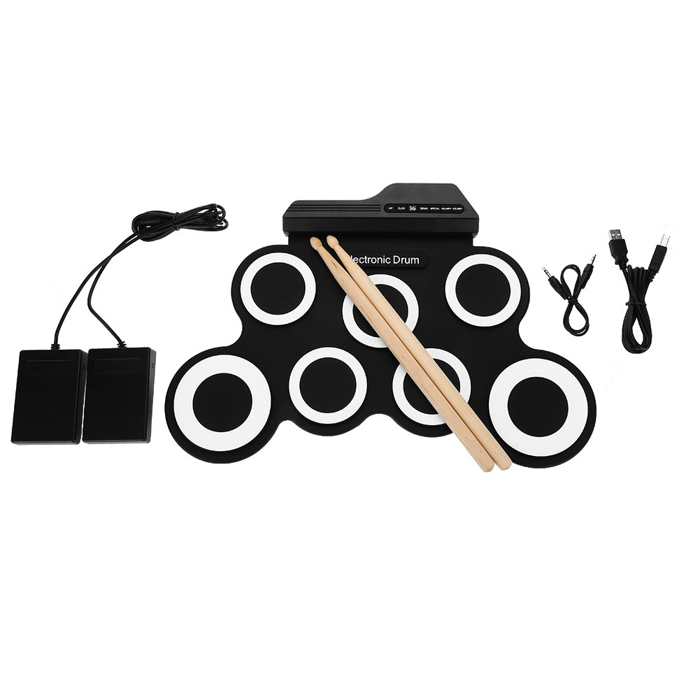 SolUptanisu Black Electric Drum Set Portable Rechargeable Electronic Rolling Up Drum with USB Cable Drum Stick Great Gift for Kids Children Teens Adults Beginners