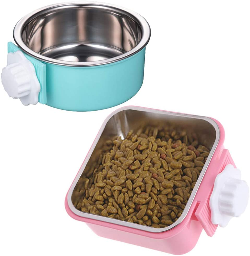 Hamiledyi Cat Crate Bowl Stainless Steel Water Food Feeder Dish 2 PCS Removable Dog Cage Hanging Bowl with Bolt Holder for Kitten Puppy Bird Rabbit