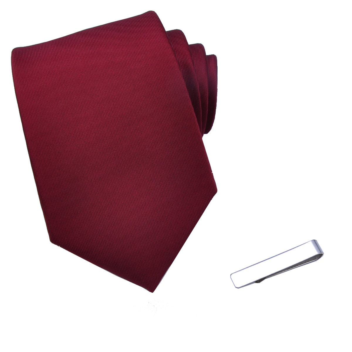 JESLANG Men's Solid Color Neck Ties and Simple Tie Clip Set Multiple Colors