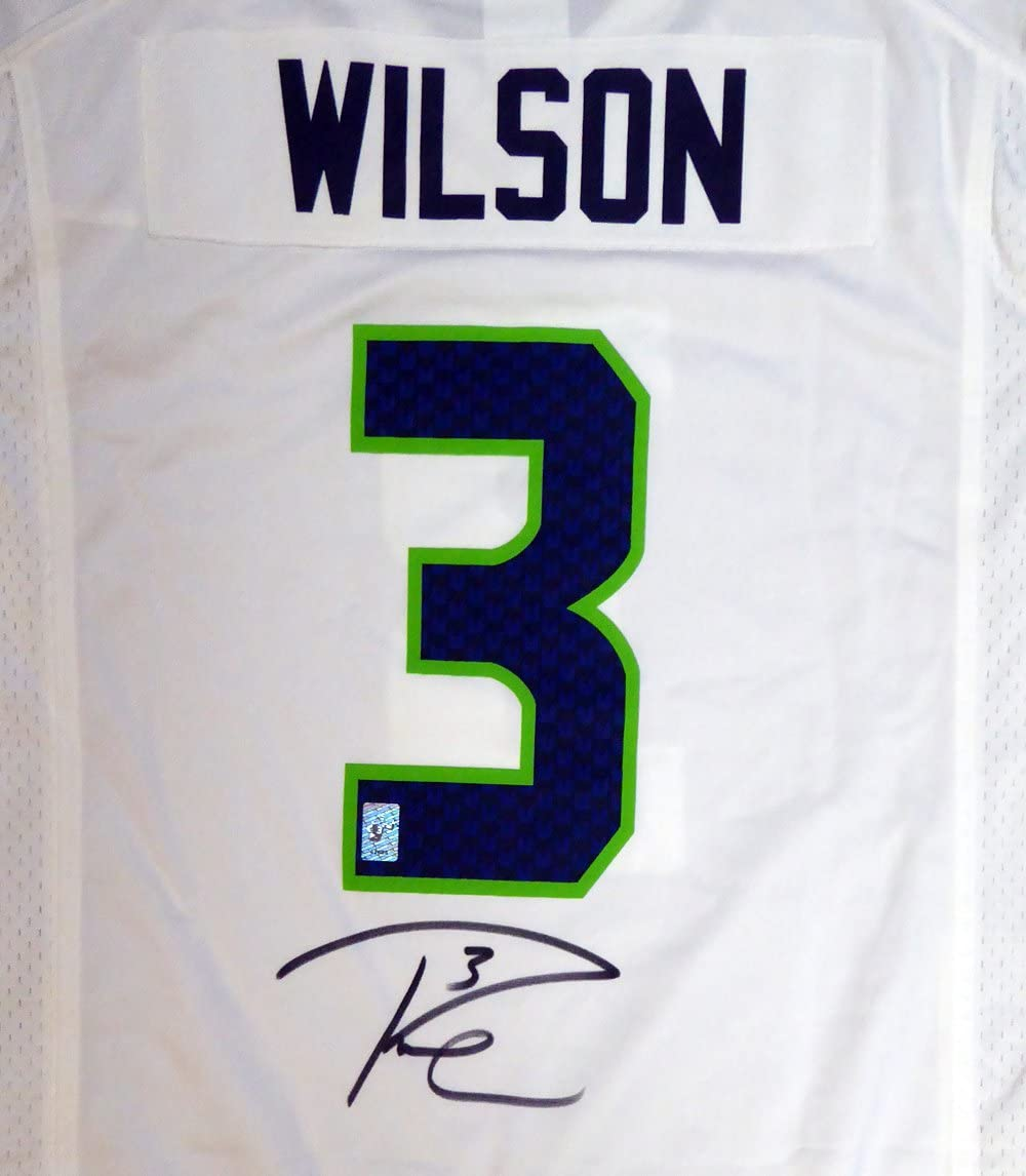 Amazon.com: Seahawks Russell Wilson Autographed White Authentic ...