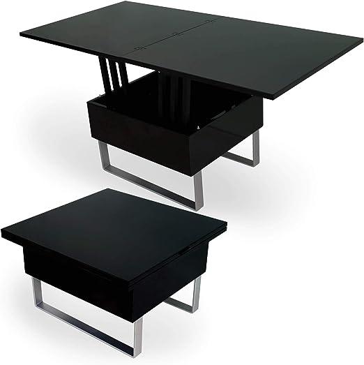 DecoInParis - Mesa baja elevable multifunción, madera lacada ...