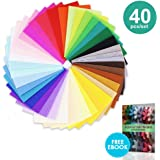 "40 pcs, 12x12"" and 0.76mm thick Felt Squares Sheets Fabric in Assorted Color for DIY Craft Patchworks Sewing"
