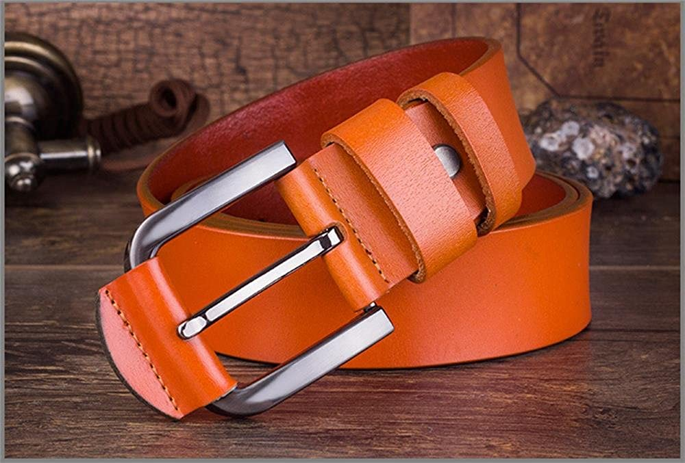 Mens Cowhide Leather Pin-Buckle Durable Belt,L:49//W 1.49