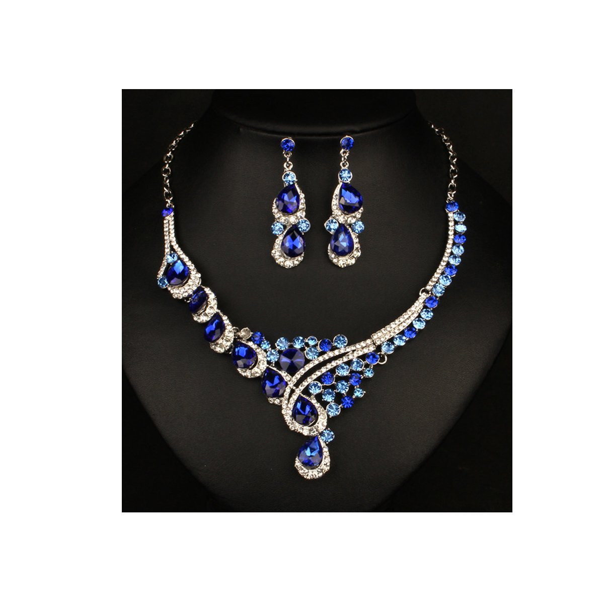 ENUUNO Costume jewelry Multi-color Crystal Choker Pendant Statement Chain Charm Necklace and Earrings Sets (Blue, alloy)