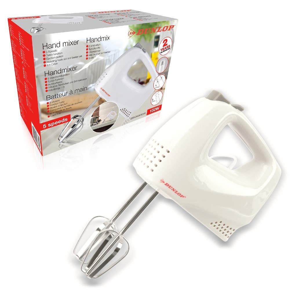 Bakaji Sbattitore Elettrico Frullatore Mixer 150W Frullino Immersione Manuale +2 Fruste Professionale per Impasti, Uova, Dolci Colore Bianco