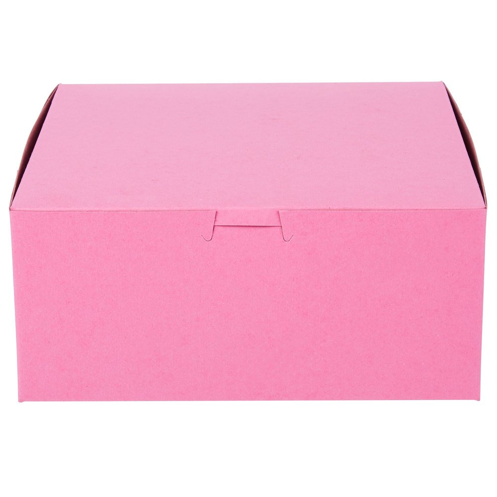 25 Count PINK 9x9x4 Bakery or Cake Box w/ Signature Party Picks by Southern Champion